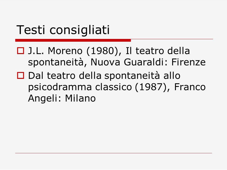 Testi consigliati J.L. Moreno (1980), Il teatro della spontaneità, Nuova Guaraldi: Firenze.