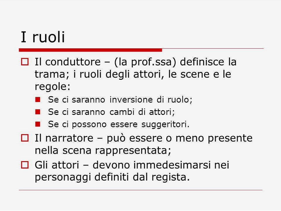 I ruoli Il conduttore – (la prof.ssa) definisce la trama; i ruoli degli attori, le scene e le regole: