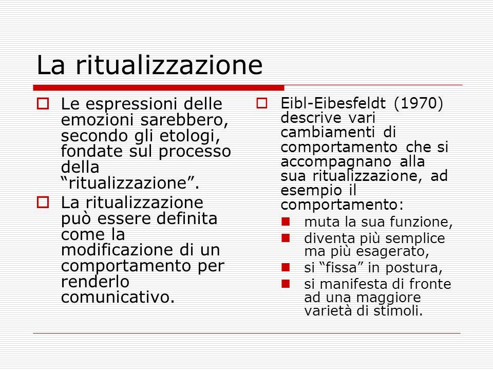 La ritualizzazione Le espressioni delle emozioni sarebbero, secondo gli etologi, fondate sul processo della ritualizzazione .