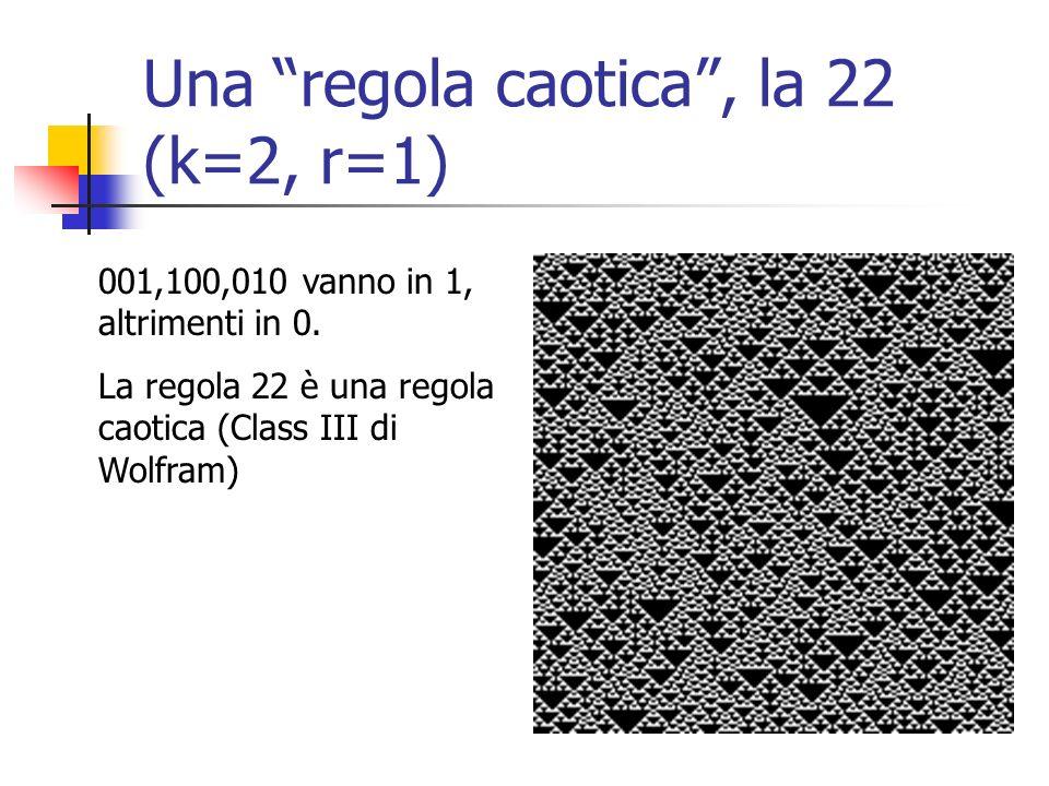 Una regola caotica , la 22 (k=2, r=1)