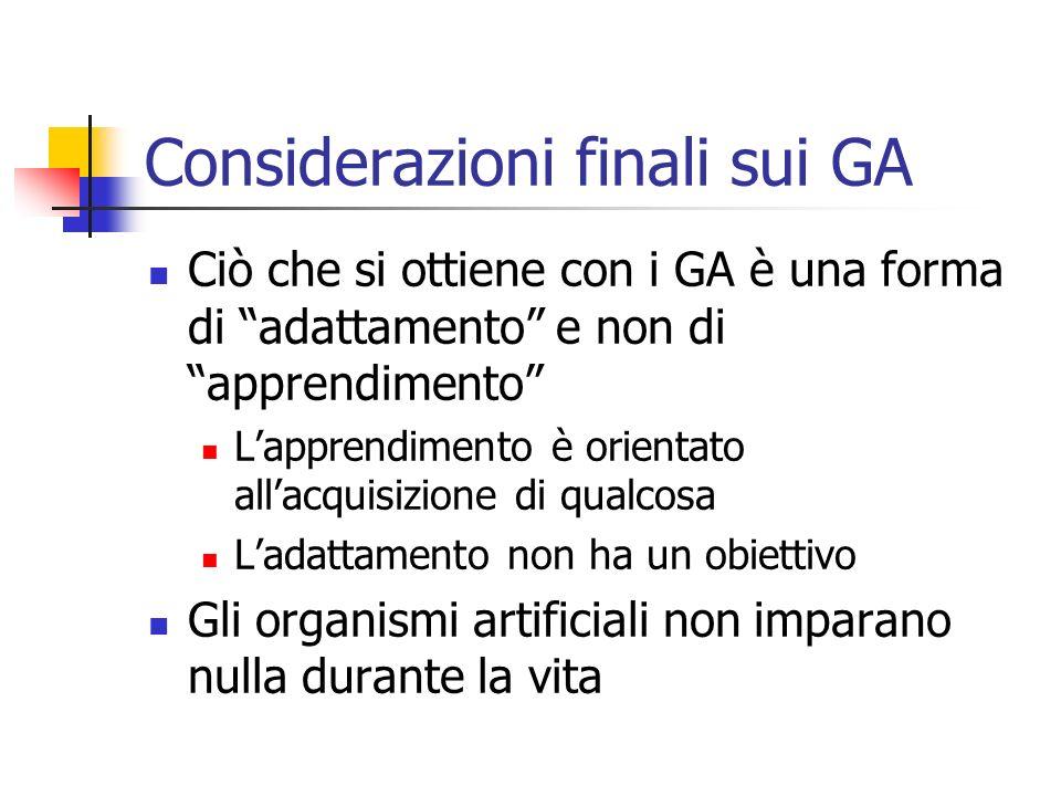 Considerazioni finali sui GA