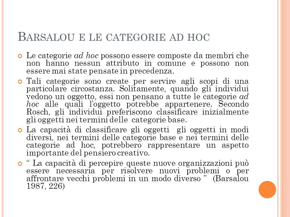 Barsalou e le categorie ad hoc