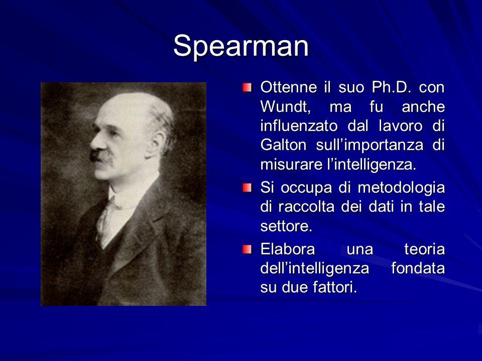 SpearmanOttenne il suo Ph.D. con Wundt, ma fu anche influenzato dal lavoro di Galton sull'importanza di misurare l'intelligenza.