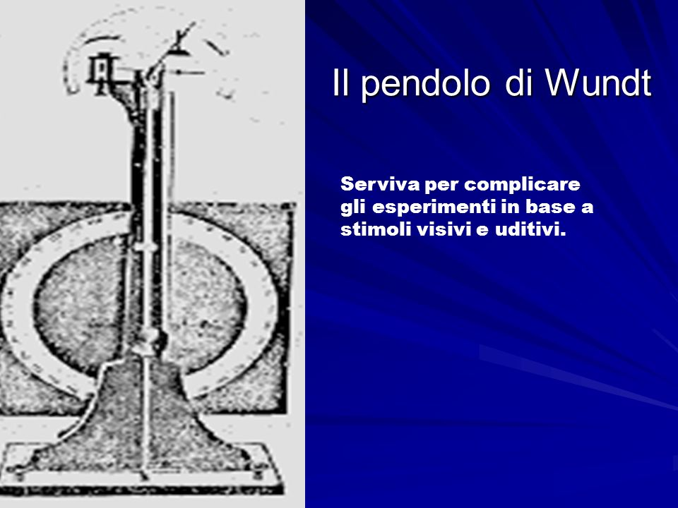 Il pendolo di Wundt Serviva per complicare gli esperimenti in base a stimoli visivi e uditivi.