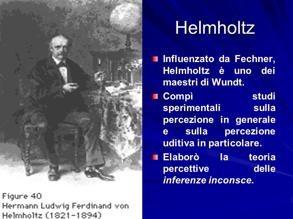 Helmholtz Influenzato da Fechner, Helmholtz è uno dei maestri di Wundt.