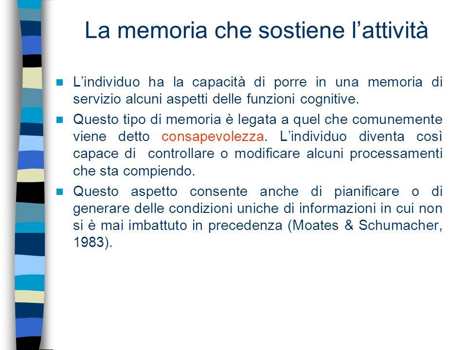 La memoria che sostiene l'attività