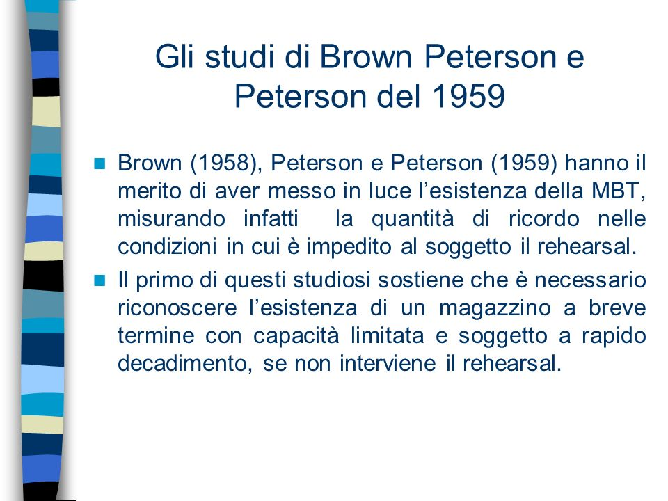 Gli studi di Brown Peterson e Peterson del 1959