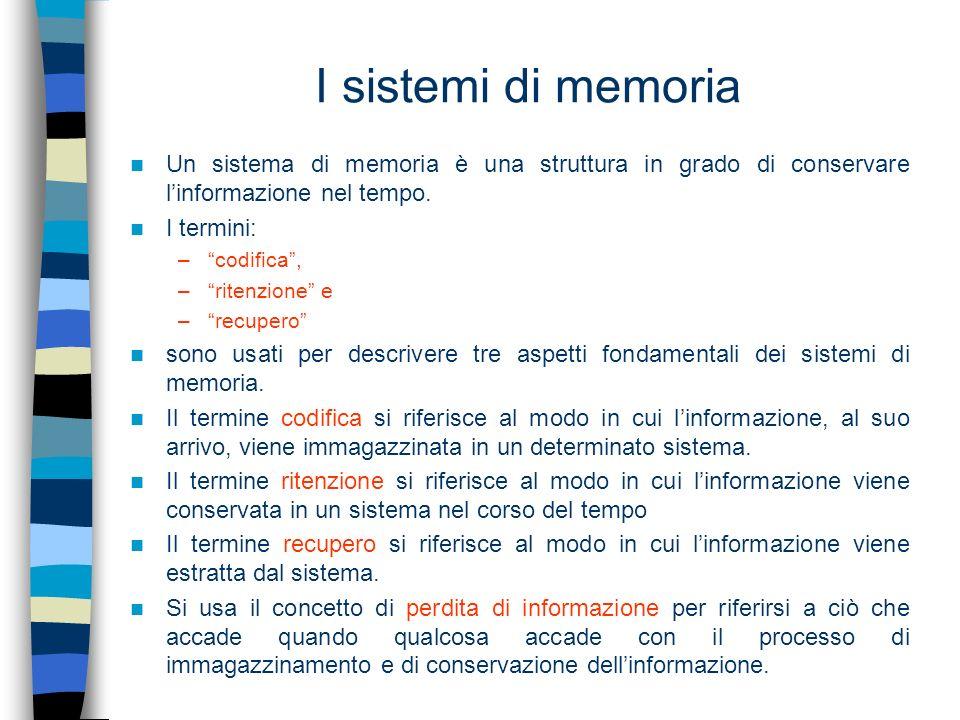 I sistemi di memoriaUn sistema di memoria è una struttura in grado di conservare l'informazione nel tempo.