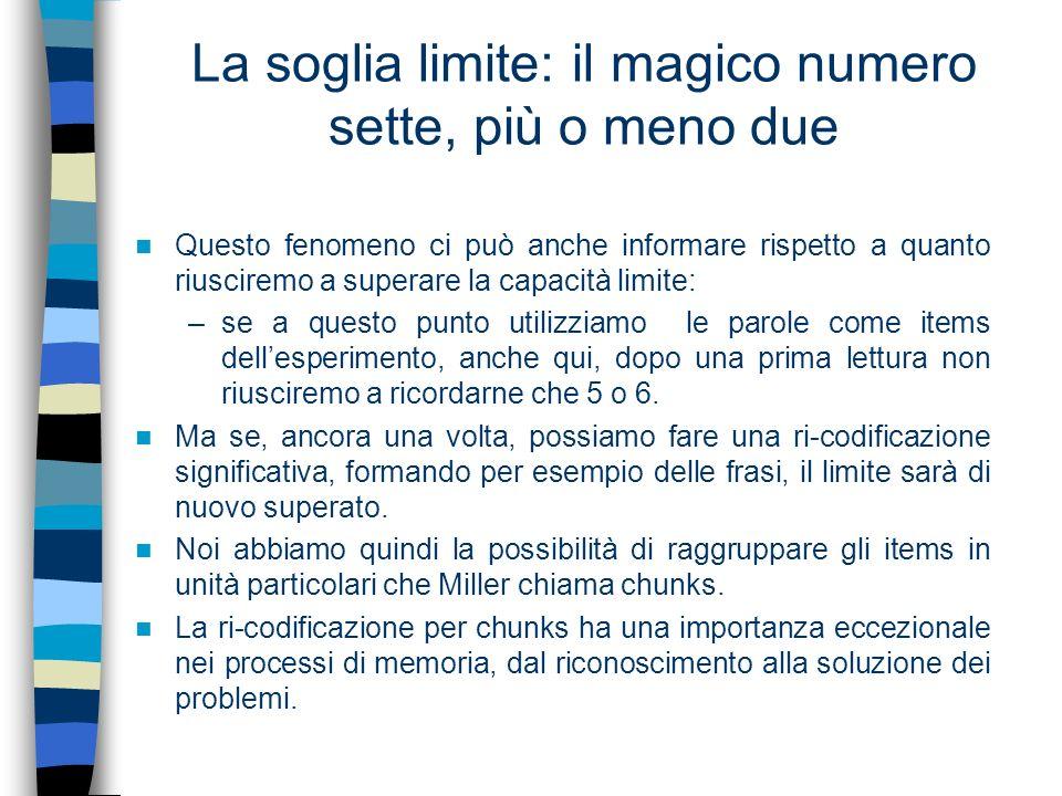 La soglia limite: il magico numero sette, più o meno due