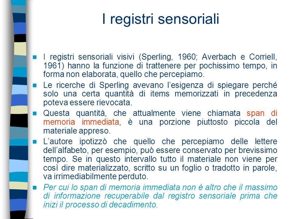 I registri sensoriali