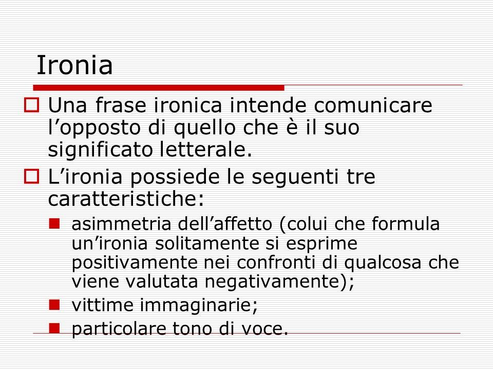 Ironia Una frase ironica intende comunicare l'opposto di quello che è il suo significato letterale.