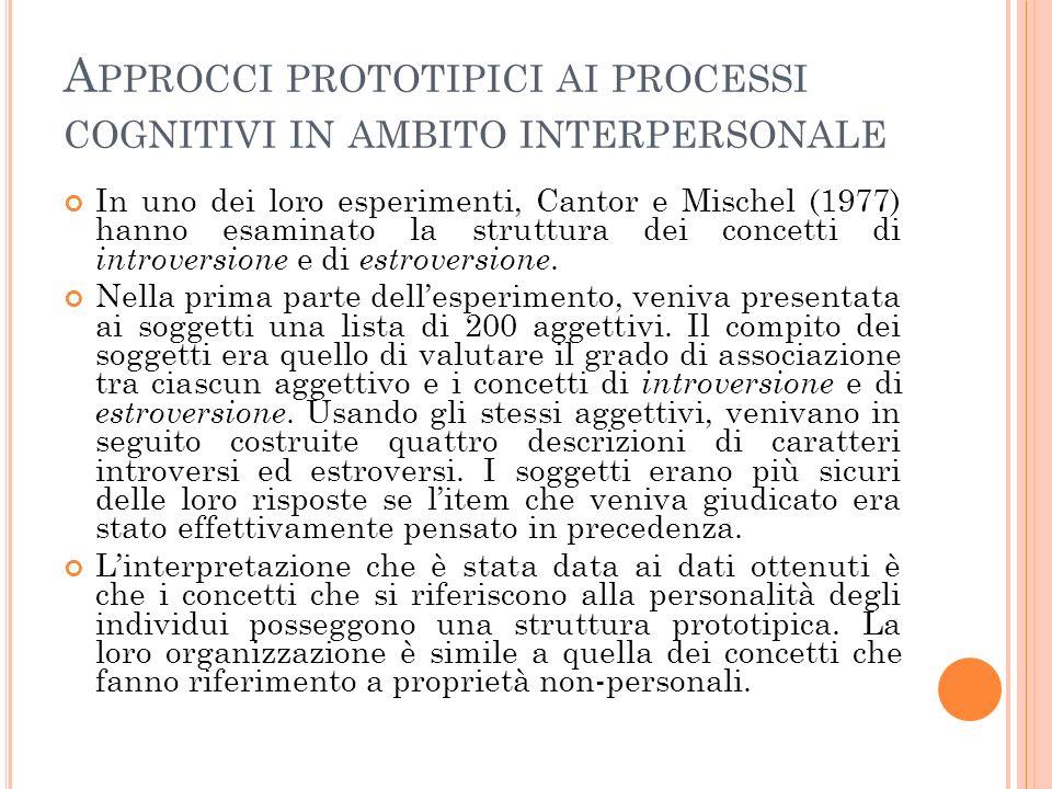 Approcci prototipici ai processi cognitivi in ambito interpersonale