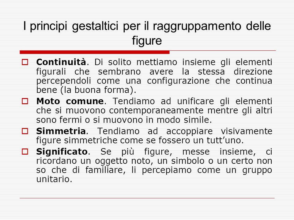 I principi gestaltici per il raggruppamento delle figure