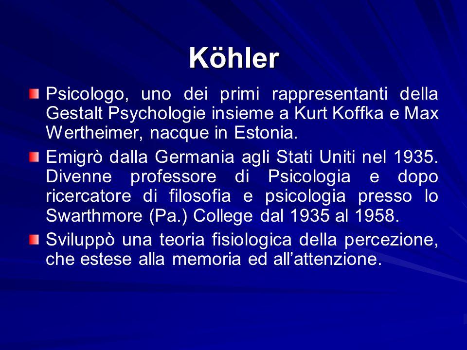 Köhler Psicologo, uno dei primi rappresentanti della Gestalt Psychologie insieme a Kurt Koffka e Max Wertheimer, nacque in Estonia.