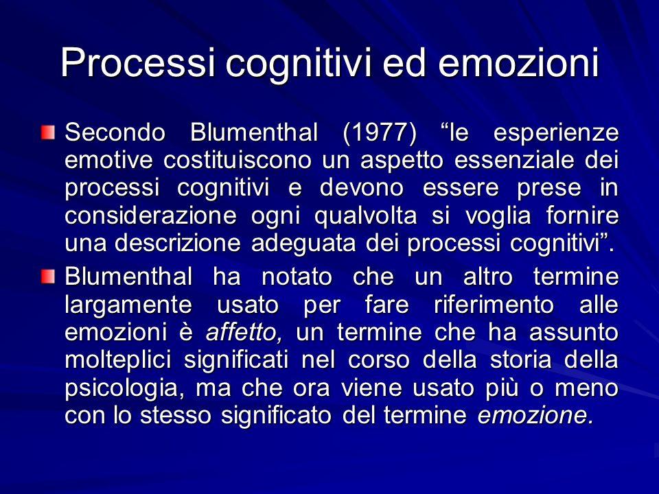 Processi cognitivi ed emozioni