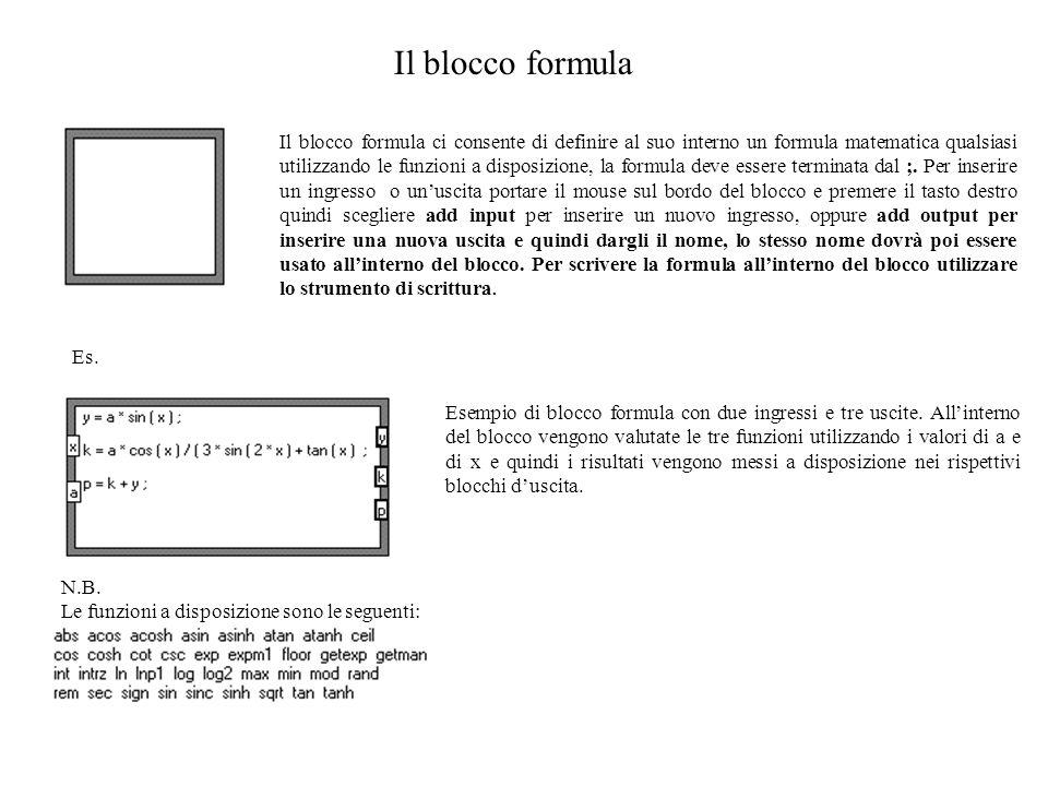 Il blocco formula