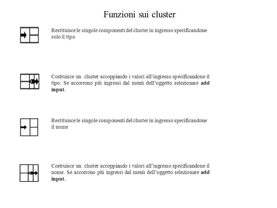 Funzioni sui cluster Restituisce le singole componenti del cluster in ingresso specificandone solo il tipo.