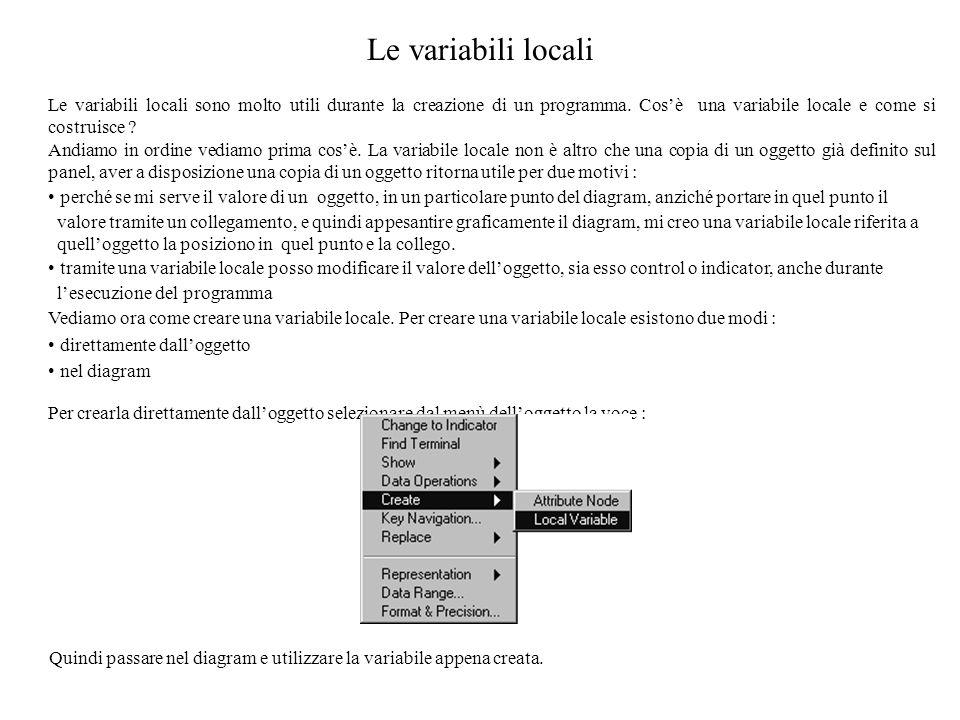 Le variabili locali Le variabili locali sono molto utili durante la creazione di un programma. Cos'è una variabile locale e come si costruisce