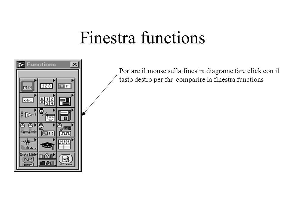 Finestra functions Portare il mouse sulla finestra diagrame fare click con il tasto destro per far comparire la finestra functions.