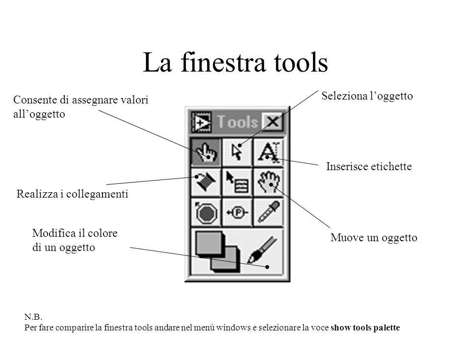 La finestra tools Seleziona l'oggetto Consente di assegnare valori