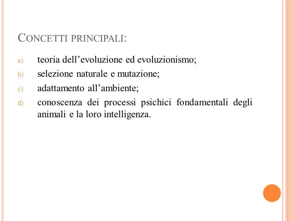 Concetti principali: teoria dell'evoluzione ed evoluzionismo;