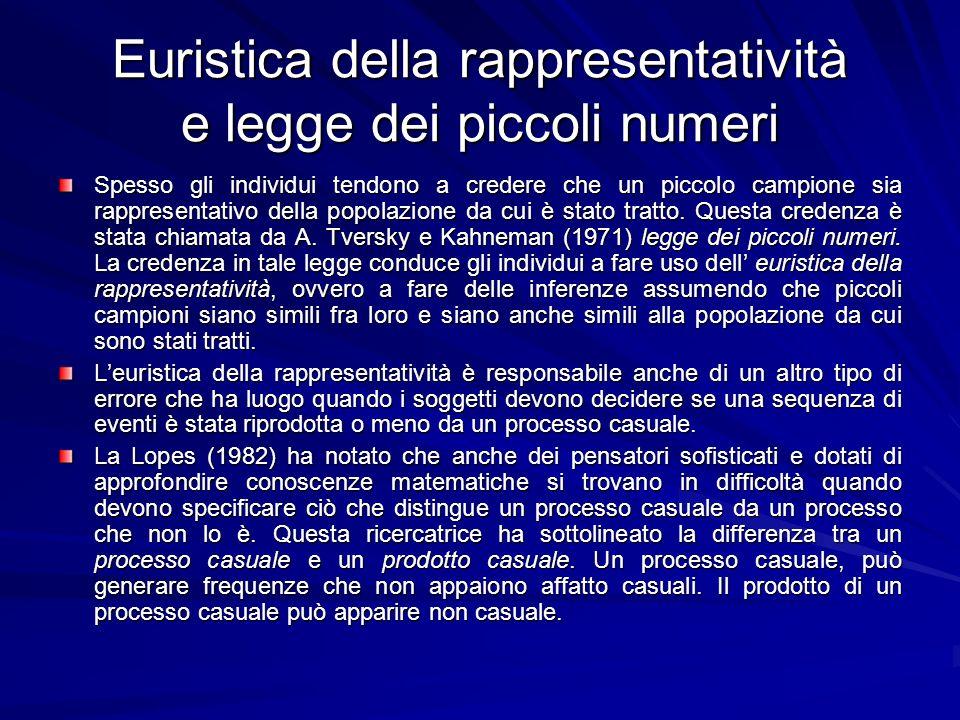Euristica della rappresentatività e legge dei piccoli numeri