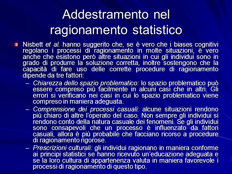 Addestramento nel ragionamento statistico