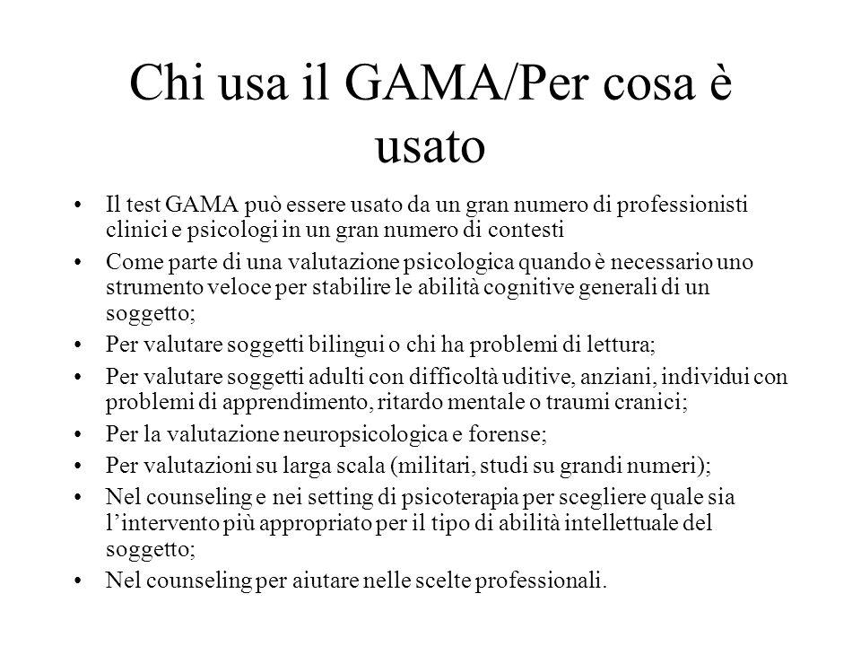 Chi usa il GAMA/Per cosa è usato