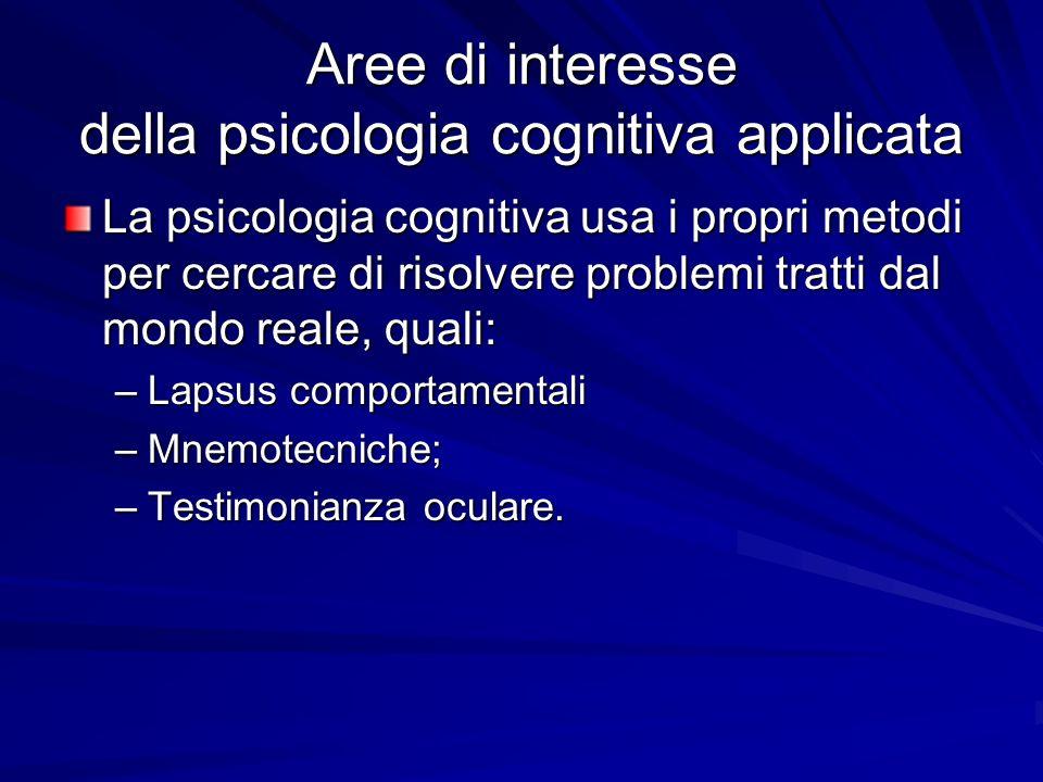 Aree di interesse della psicologia cognitiva applicata