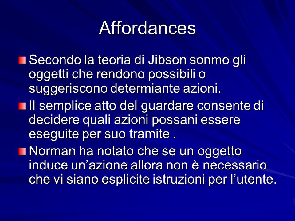 Affordances Secondo la teoria di Jibson sonmo gli oggetti che rendono possibili o suggeriscono determiante azioni.
