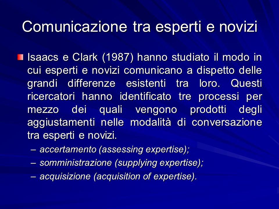 Comunicazione tra esperti e novizi
