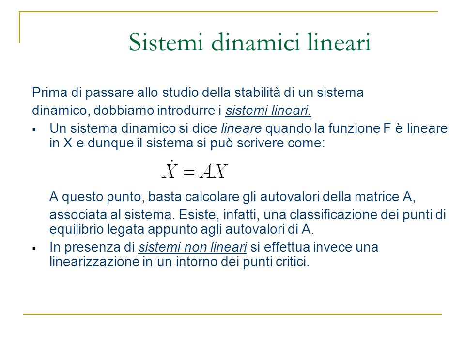 Sistemi dinamici lineari