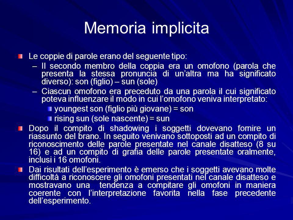 Memoria implicita Le coppie di parole erano del seguente tipo: