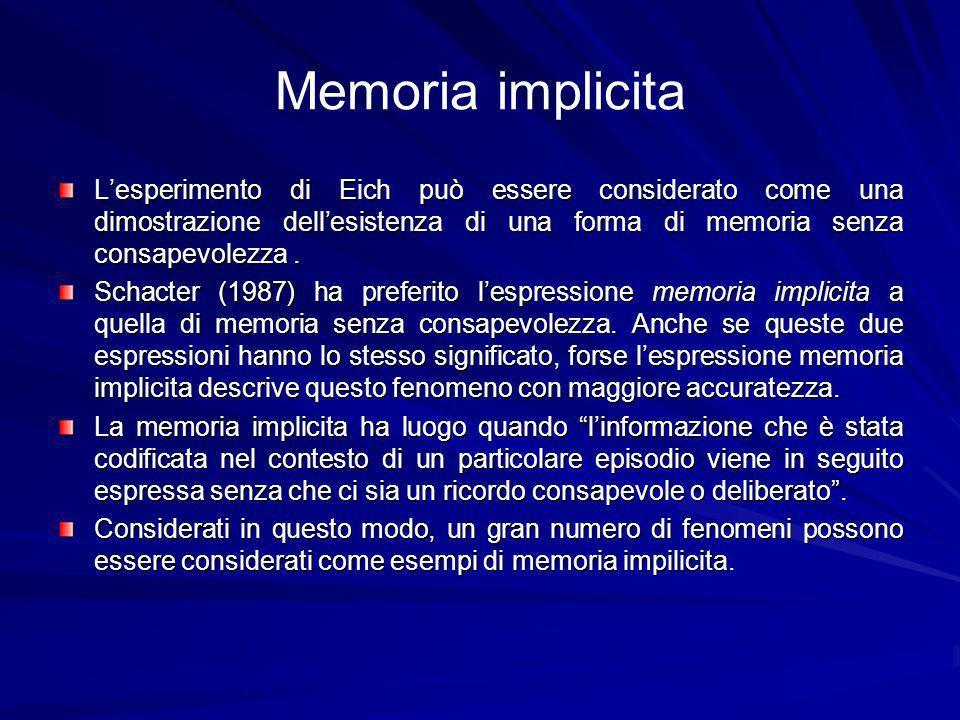 Memoria implicita L'esperimento di Eich può essere considerato come una dimostrazione dell'esistenza di una forma di memoria senza consapevolezza .