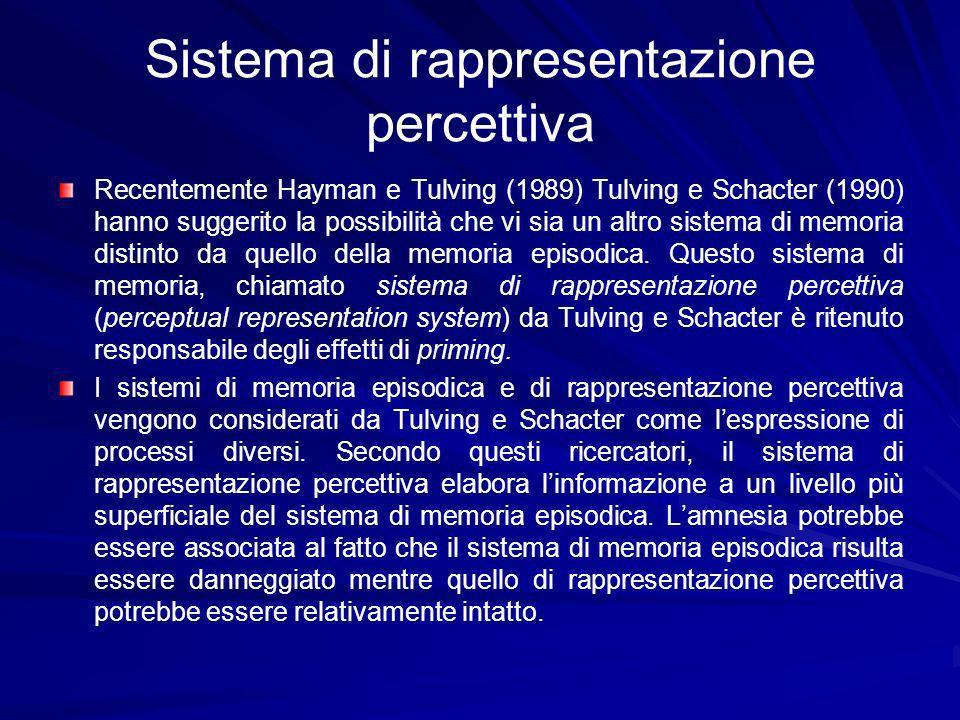 Sistema di rappresentazione percettiva