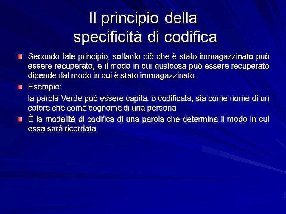 Il principio della specificità di codifica