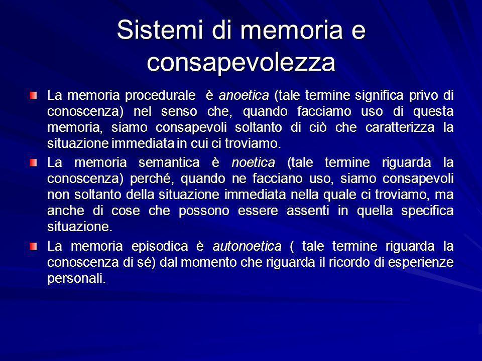Sistemi di memoria e consapevolezza