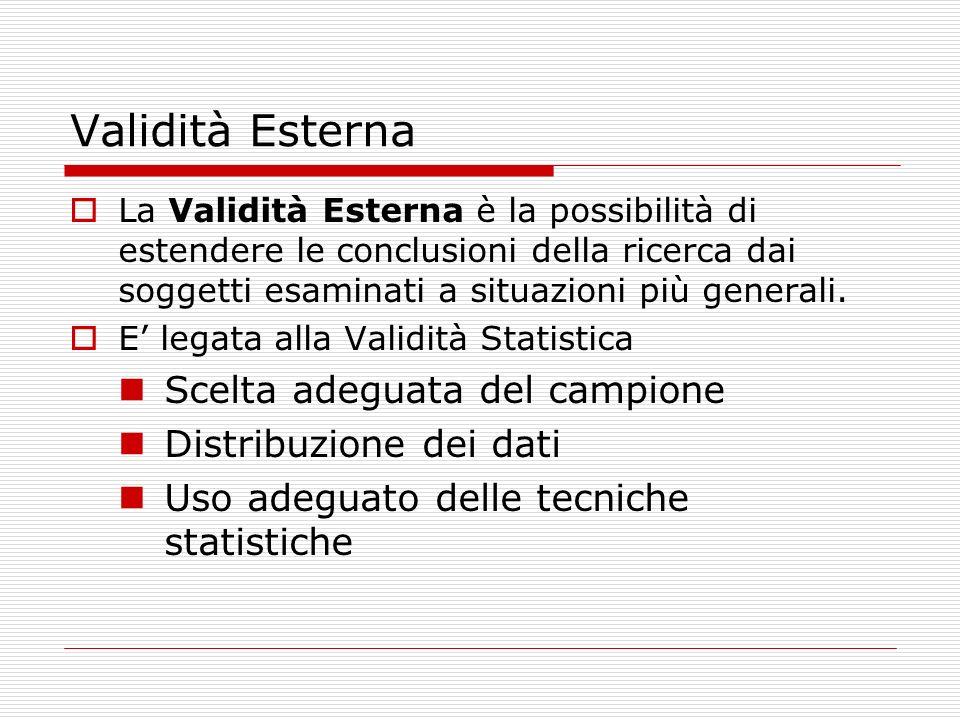 Validità Esterna Scelta adeguata del campione Distribuzione dei dati