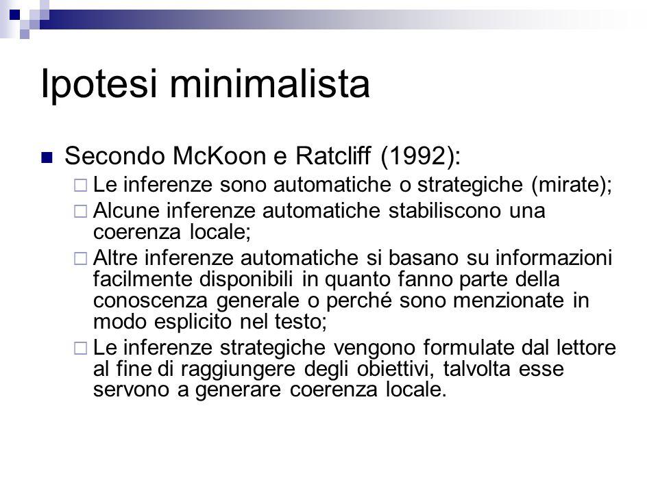 Ipotesi minimalista Secondo McKoon e Ratcliff (1992):