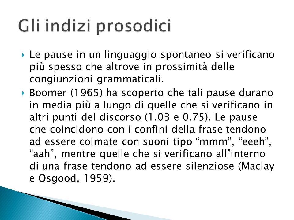 Gli indizi prosodici Le pause in un linguaggio spontaneo si verificano più spesso che altrove in prossimità delle congiunzioni grammaticali.