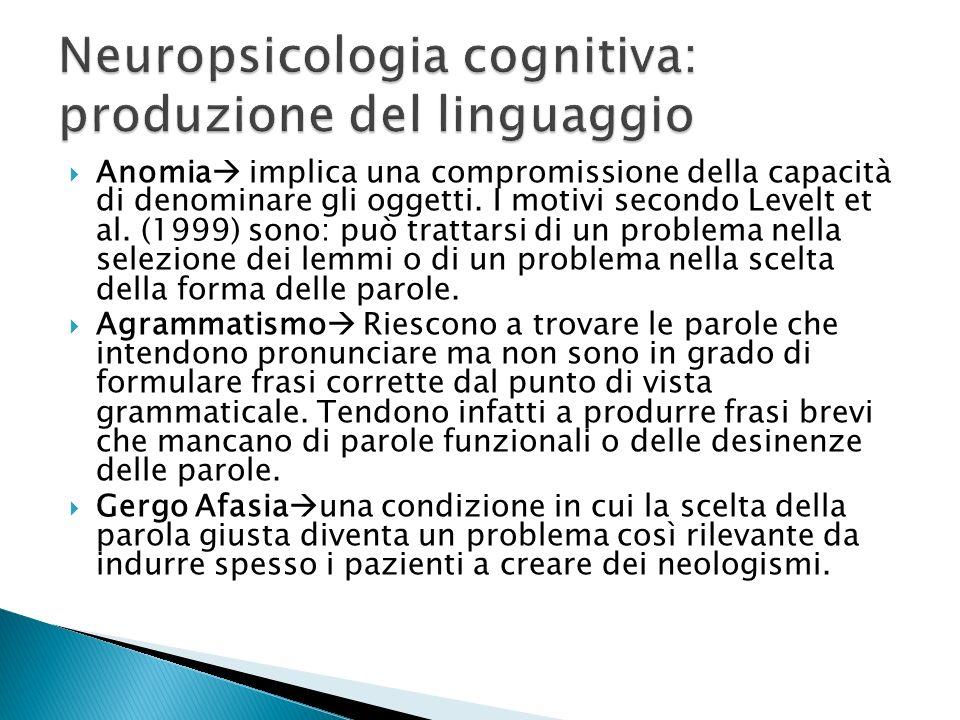 Neuropsicologia cognitiva: produzione del linguaggio