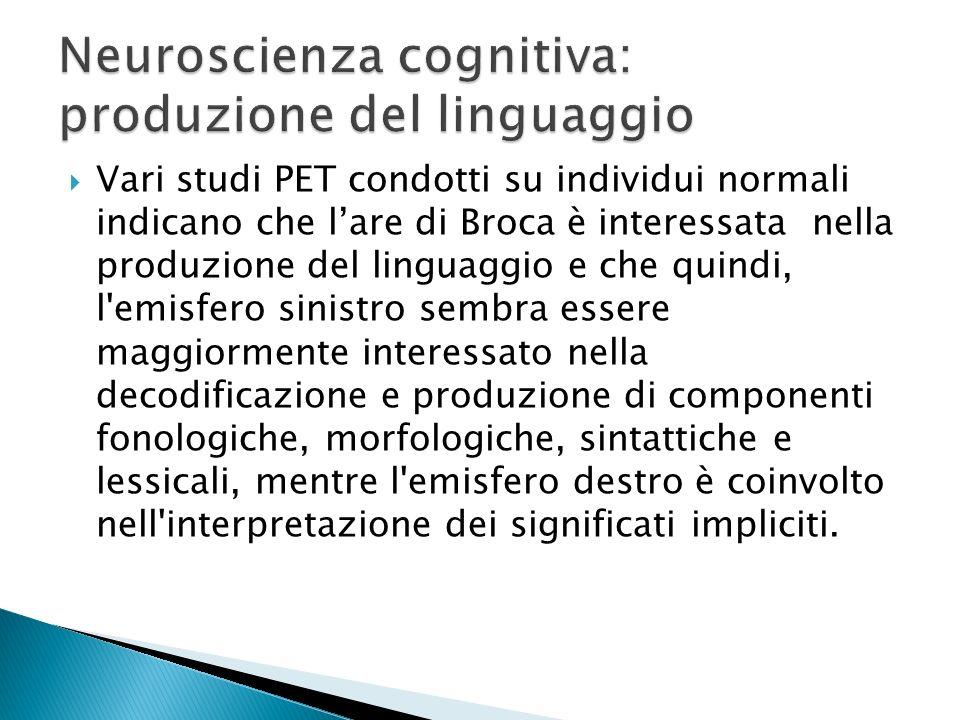 Neuroscienza cognitiva: produzione del linguaggio