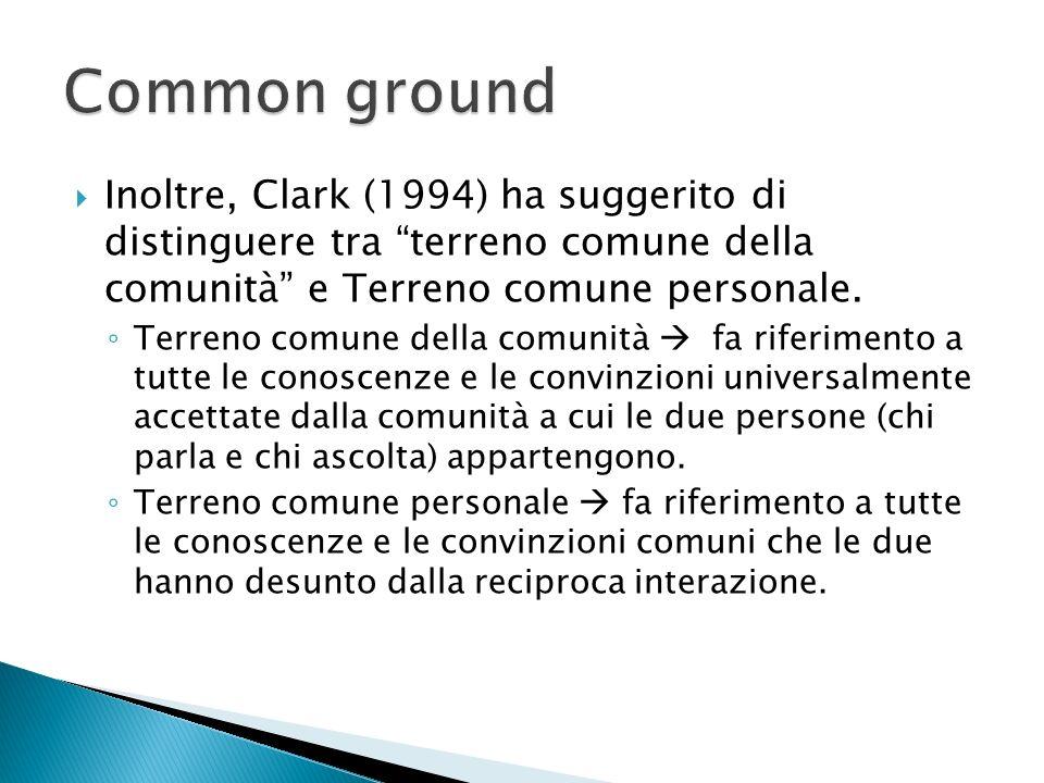 Common ground Inoltre, Clark (1994) ha suggerito di distinguere tra terreno comune della comunità e Terreno comune personale.