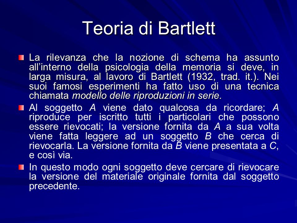Teoria di Bartlett