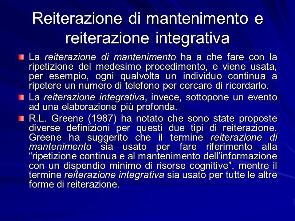 Reiterazione di mantenimento e reiterazione integrativa