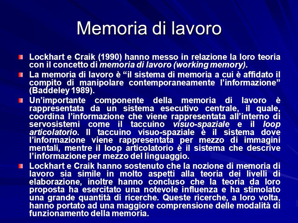 Memoria di lavoro Lockhart e Craik (1990) hanno messo in relazione la loro teoria con il concetto di memoria di lavoro (working memory).