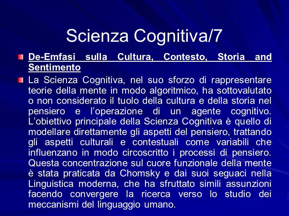 Scienza Cognitiva/7 De-Emfasi sulla Cultura, Contesto, Storia and Sentimento.