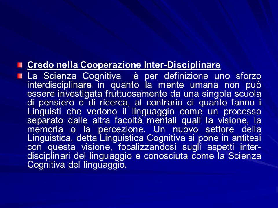 Credo nella Cooperazione Inter-Disciplinare