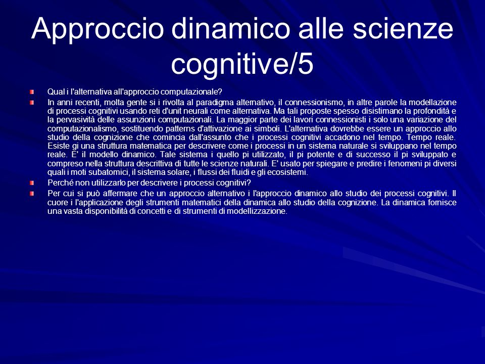 Approccio dinamico alle scienze cognitive/5