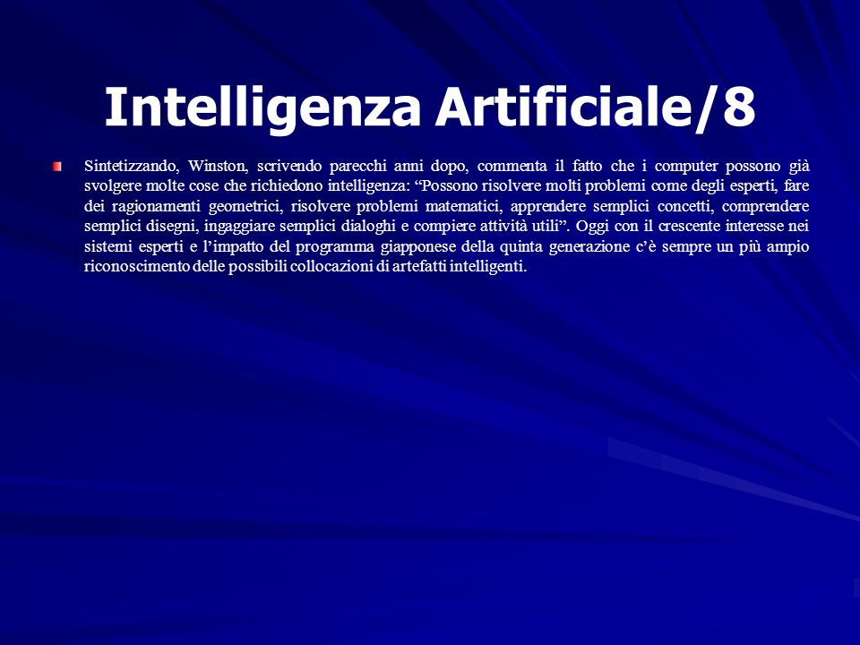Intelligenza Artificiale/8